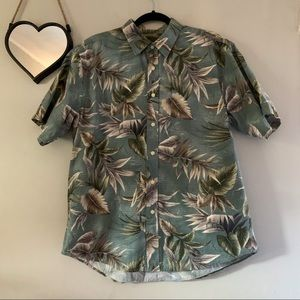 David Taylor Hawaiian Palm Button Down Shirt Large